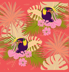 toucan pattern cartoon style vector image