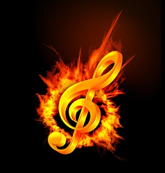 Treble clef in the fire vector image