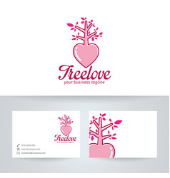 tree love logo design vector image