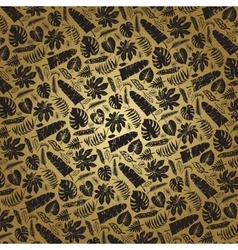 Tropical leavesbranches pattern backdropGold vector