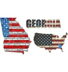 USA state of Georgia on a brick wall vector
