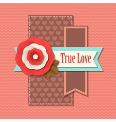 Valentines day typographical retro holiday card vector