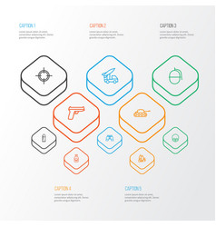 Warfare outline icons set collection of target vector