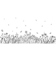 Wildflowers and grasses with various insects vector