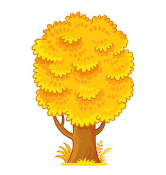 with yellow autumn tree on a vector image