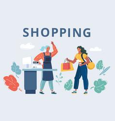 Woman in shop vector