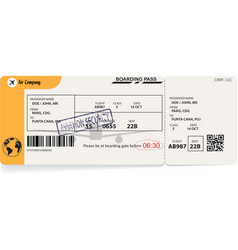 yellow template of airline boarding pass vector image