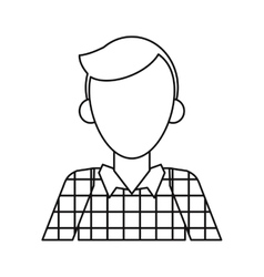 Young man plaid shirt worker occupation thin line vector