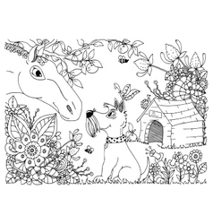 zentangl a horse and dog in vector image
