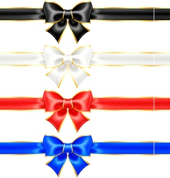 Black and white holiday bows with gold border and vector image