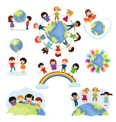 children world happy kids on planet earth vector image