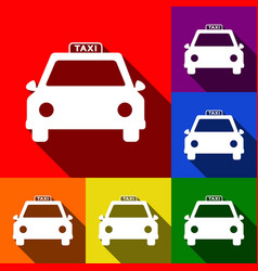 taxi sign set of icons with vector image vector image