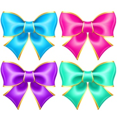 Bright holiday bows with gold border vector image vector image