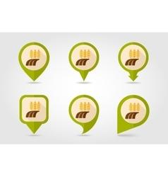 Ears of Wheat Barley Rye Field flat map pin icon vector image vector image