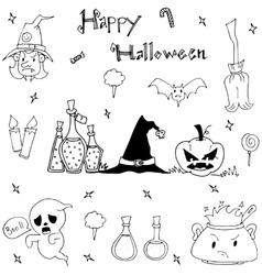 Happy Halloween cute element in doodle vector image