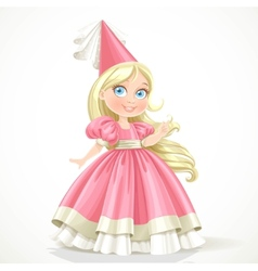 Little princess in a pink dress with long blond vector image vector image