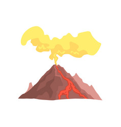 Volcanic mountain with magma hot lava and dust vector