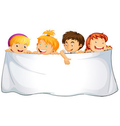 blank cloth with happy children vector image vector image