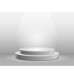 Empty template of white round podium vector image vector image