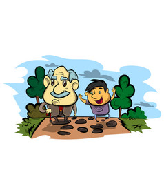 grandfather and child vector image vector image