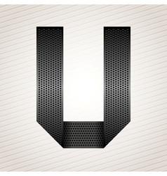 Letter metal ribbon - U vector image vector image