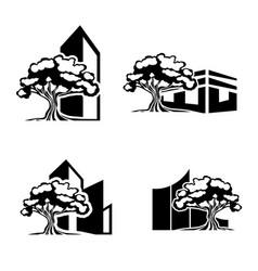 oak tree realty logo set vector image