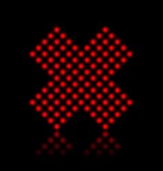 Red neon cancel cross on black vector image vector image