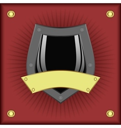 Shield on a red background vector image vector image