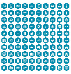 100 property icons sapphirine violet vector image vector image