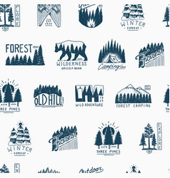 camping seamless pattern mountains coniferous vector image vector image