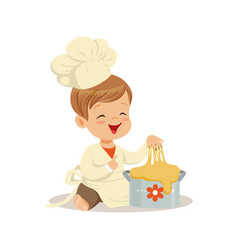 cute smiling little boy chef kneading a dough vector image vector image