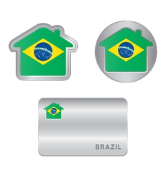 Home icon on the Brazil flag vector image vector image