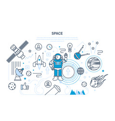 set on space theme including transport planets vector image vector image
