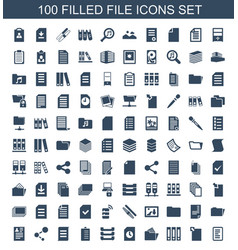 100 file icons vector image