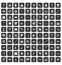 100 street festival icons set black vector