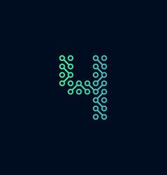 4 circuit technology letter logo icon design vector