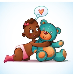 African American girl hugs Teddy Bear toy on a vector
