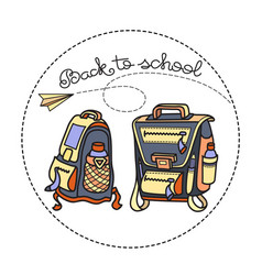 Back to school two school backpacks vector