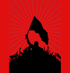 Background with silhouette of protesters vector
