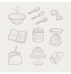 Baking Related Objects Set vector