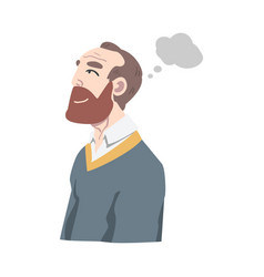 Bearded man dreaming and fantasizing imagining vector