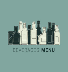beverages menu with bottles vector image
