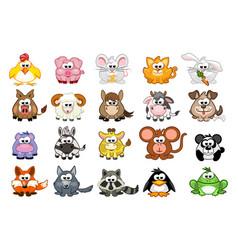 Big set cute cartoon triangular animals vector