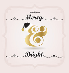 Black pink and golden merry and bright decoration vector
