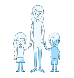 Blue silhouette shading caricature full body vector