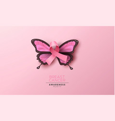 Breast cancer awareness pink butterfly wing ribbon vector