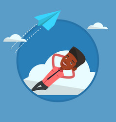 Businessman lying on cloud vector