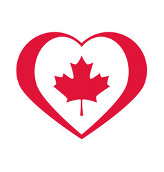 canada day maple leaf in heart national vector image