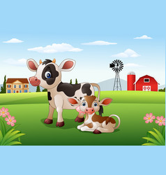Cartoon cow and calf with farm background vector