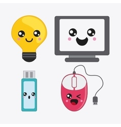 cartoon icon set Kawaii and technology vector image